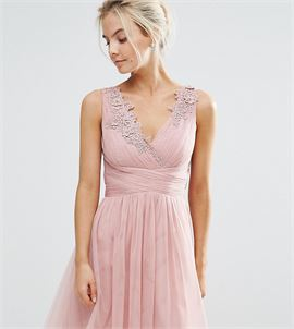 Full Prom Tulle Mini Dress With Lace Applique