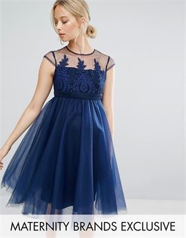 Embroidered Prom Dress With Button Detail And Cap Sleeve