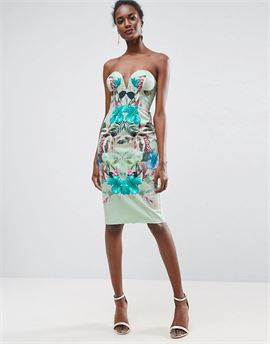 Mint Tropical Floral Placed Cupped Bandeau Midi Dress