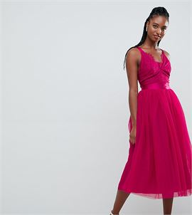 ASOS DESIGN TALL Lace Top Tulle Midi Prom Dress with Ribbon Ties