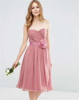 WEDDING Chiffon Bandeau Midi Dress with Detachable Corsage