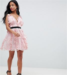 ASOS DESIGN Petite 3D floral mini prom dress