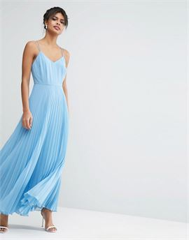Woven Cami Maxi Dress With Pleated Skirt
