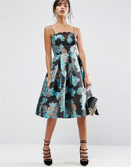 SALON Metallic Flower Jacquard Prom Midi Dress