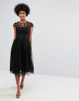 Premium Lace Midi Prom Dress with Lace Neck