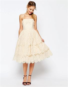 SALON Tiered Lace Midi Prom Dress