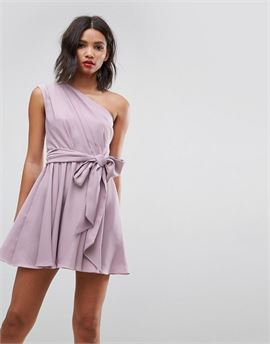 One Shoulder Tie Waist Mini Prom Dress