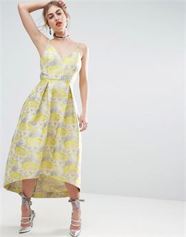 SALON Beautiful Floral Jacquard Midi Prom Dress