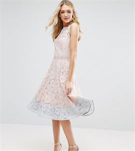 Allover Lace Midi Prom Skater Dress With Contrast Hem