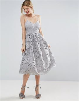 Heavy Lace Cami Midi Prom Dress