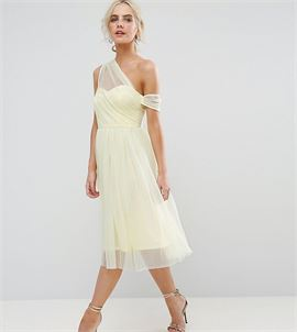 Dobby Mesh One Shoulder Prom Dress