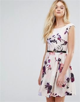 Petal Print Belted Prom Dress