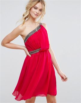 Embellished One Shoulder Prom Dress