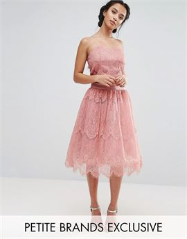 Allover Lace Tulle Full Prom Midi Skirt