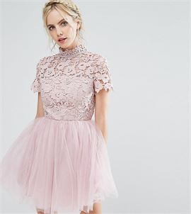 Lace Top Full Prom Mini Dress With Tulle Skirt
