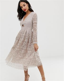lace long sleeve prom midi dress with cut out
