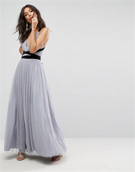 PREMIUM Tulle Maxi Prom Dress With Velvet Ties
