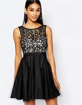 Cutwork Lace Mini Prom Dress With Tulle Skirt
