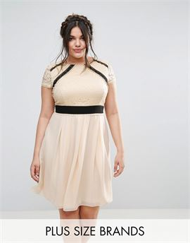 2 In 1 Lace Skater Dress With Contrast Skirt
