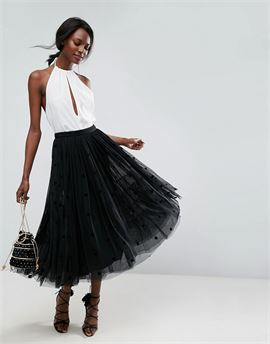 Midi Tulle Prom Skirt with Flocked Polka Dots