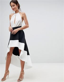 Scuba Prom High Low Hem Skirt with Colourblock Detail