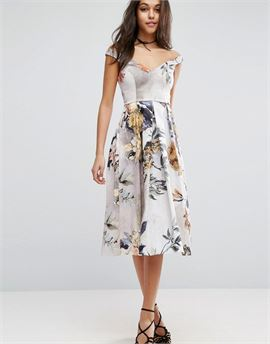 Off Shoulder Floral Midi Prom Dress