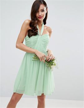 WEDDING Ruched Halter Mini Dress