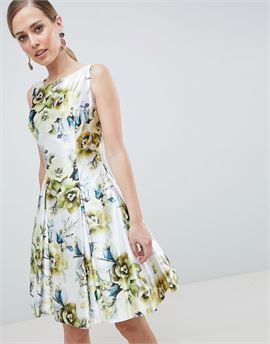 Floral Print High Neck Prom Dress