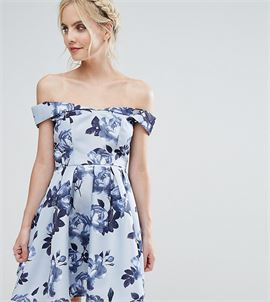Off Shoulder Mini Prom Dress In Floral Print