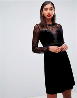 lace trim velvet mini prom dress in black