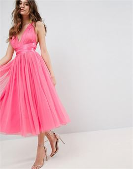PREMIUM Tulle Midi Prom Dress With Ribbon Ties