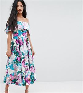 Off The Shoulder Midi Prom Dress In Bright Purple Floral