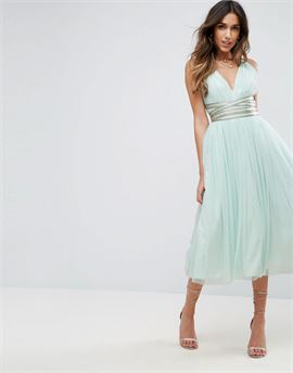 PREMIUM Tulle Midi Prom Dress With Embellished Ribbon Ties