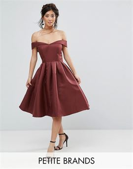 Off Shoulder Full Prom Midi Dress