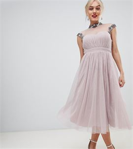 midi prom dress with embellished collar and sleeves