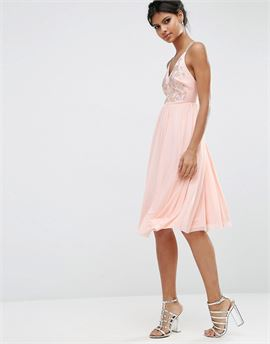 Mesh Skirt Embellished Hotfix Midi Prom Dress