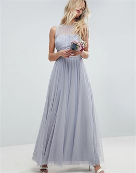 Bridesmaid maxi prom dress with pearl trim