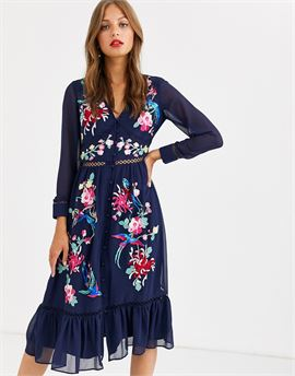 embroidered skater midi dress with lace trims and pephem