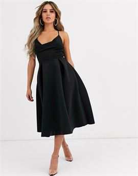 cowl neck cami midi prom dress