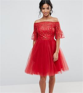 Tulle Midi Prom Dress With Lace Fluted Sleeves