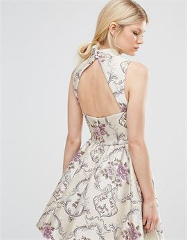 All Over Jacquard Mini Prom Dress With High Neck