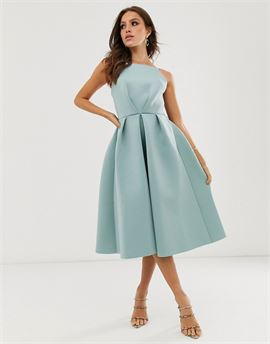 bow back midi prom dress