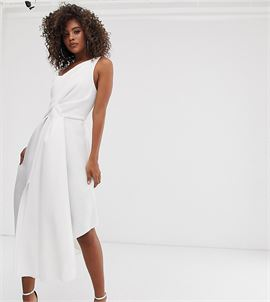 ASOS DESIGN Tall self stripe one shoulder fold detail prom midi dress