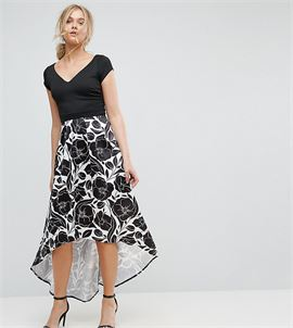 Hi Lo Midi Prom Dress With Floral Print Skirt