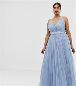ASOS DESIGN Curve premium tulle maxi prom dress with ribbon ties