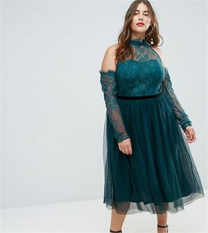 PREMIUM Tulle Cold Shoulder Midi Prom Dress