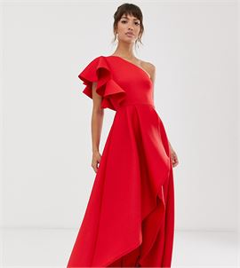 frill one shoulder high low prom maxi dress in red