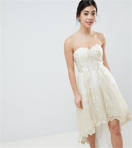 Premium Lace Bardot Prom Dress with Extreme High Low Hem