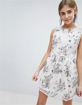 3D Floral Applique Mini Prom Dress