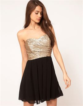 Dress with Sequin Bandeau & Chiffon Skirt